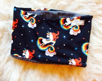 Rainbow unicorn fleece lined snood