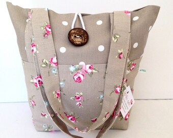 Tote Bag, Taupe Rosebud & Dotty Bag, Small Lunch Bag, Small Tote Bag, Everyday Bag, Fold Up Bag, Floral Bag,