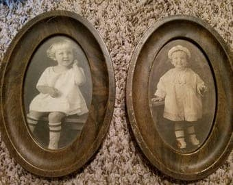 Pair of Antique/Vintage Photos of Children in Oval Wood Grain Metal Frames