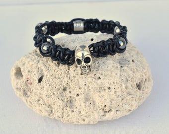 onyx-special bikers@kreapat-cuir black hematite skull bracelet