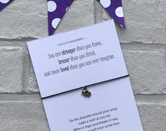 Elephant Wish Bracelet - Inspirational Card Strength Message - Elephant Bracelet Card - Inspirational String Bracelet - Cancer Gift Card