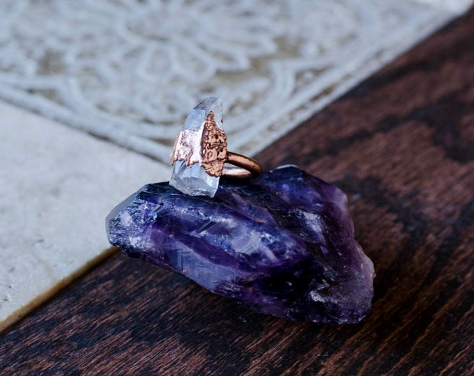 Raw Clear Quartz and Copper Ring Size 7 1/4