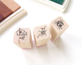 "Set of 3 Mini-Tampons wooden ""Flower"" pattern No. 4"