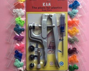 Lot pince KAM + 40 pressions, 20 couleurs différentes (E8)