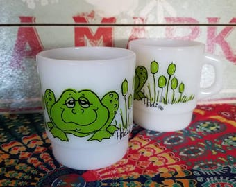 Vintage Fire King Hildi - frogs on milk glass, D-handle, holds 8 ounces . Set of 2