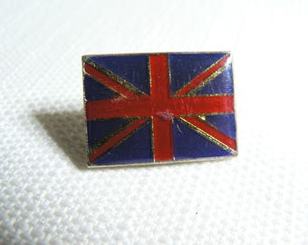 Vintage 80s UK British Union Jack Flag - Mod - Enamel Pin / Button / Badge