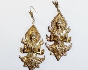Siam Gilt Sterling Silver Dangling Goddess Figural Earrings Pendants Vintage