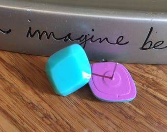 Nickel free. Turquoise Diamond shaped stud earrings. Plastic. Comfortable to wear. Lightweight. #10