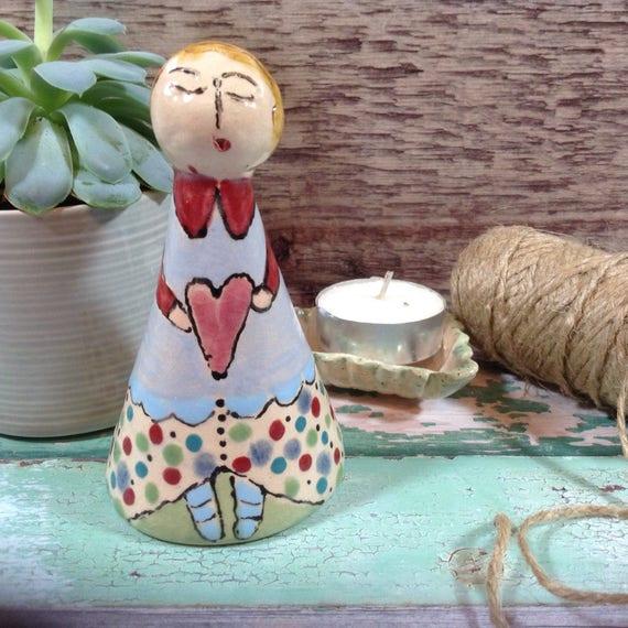 Candlesnuffer, ceramic, handmade, ornamental, colourful, folkart