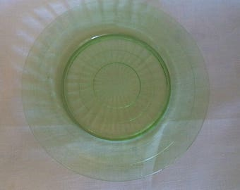 Anchor Hocking Green Block Optic Dinner Plate 9.25 in. Block Optic Anchor Hocking Green