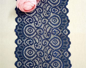 Elegant Navy Table Runners , 7inches / 18cm Wide, Navy Lace Runners For Wedding,  Navy