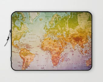 World map laptop sleeve, world map, countries, map, computer cover, office, travel, travel gift, adventure, colorful world