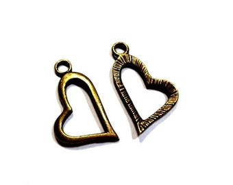 DESTASH 20 charms, pendants, charms, heart, stylized, aged bronze metal, 11 X 20 mm