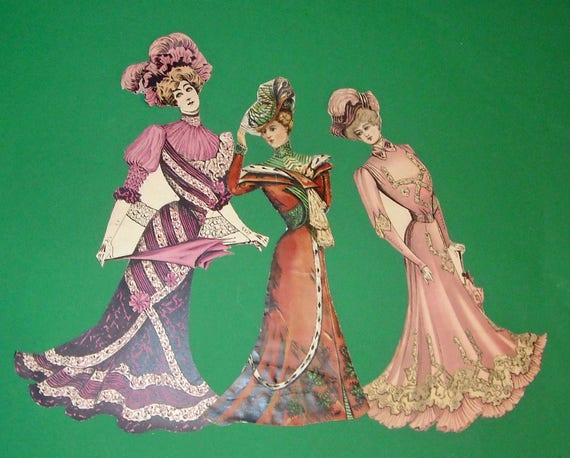 My Grandmother's 47 Fashion Paper Dolls from the late 1890s.