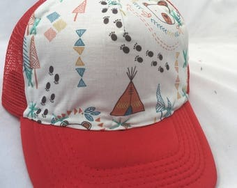 Tepee Time in the Woods Trucker hat for kids