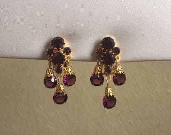 Vintage Earrings: Purple Diamanté Clip on Earrings