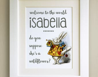 FRAMED Personalised White Rabbit QUOTE PRINT, New Baby/Birth Nursery Picture Gift, Alice in Wonderland, Choice of 3 frames, Fab Picture Gift