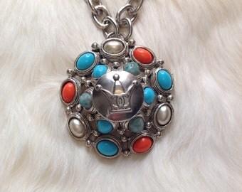 Designer CC Button Necklace