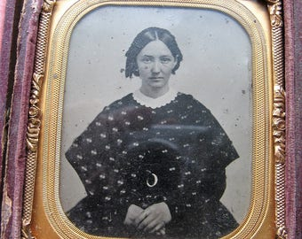 Vintage Tintype 1/6 Plate Sad Young Woman, Antique Photograph, Mid 19th Century