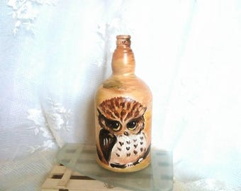 owl owlet empty decorative bottle home decor vases Modified Bottles glass acrylic paint hand-painted