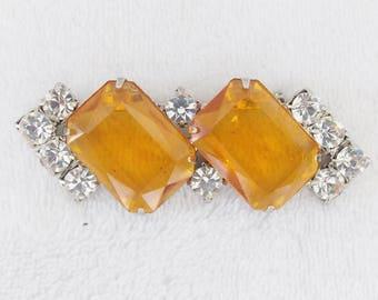 Now Only 10 Dollars! Elegant Vintage Amber & Clear Rhinestone Geometric Brooch