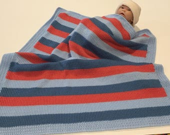 "Knitted striped baby blanket. 32""X35"". Free monogramming."