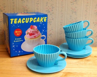 Teacups Set of Silicone Cupcake Baking Molds with 4 Blue Silicone Tea Cups and 4 Blue Plastic Saucers for Cupcakes - Reusable  ON SALE!