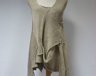 Summer asymmetrical taupe top, L size. Made of pure linen.