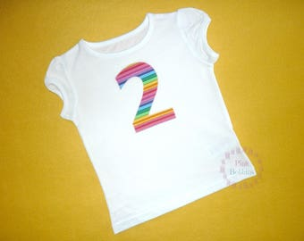 Rainbow birthday t-shirt - rainbow party outfit - girl's rainbow birthday - number 2,3,4,5,6,7,8,9 - birthday outfit - girl's rainbow party