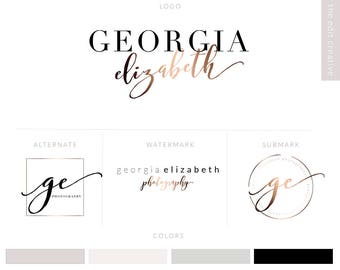 Logo Design | Branding Package | Photography Logo |  Logo Watermark | Rose Gold Logo | Watercolor Logo | Calligraphy Logo