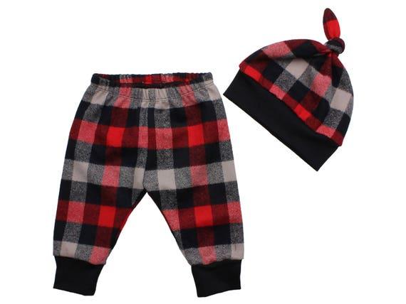 Red Buffalo Plaid Flannel Boy Pants Toddler Pants Fall Winter Boy Pants Red Baby Leggings Buffalo Check Red Buffalo Plaid Baby Leggings