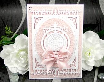 Handmade Birthday Card, Luxury Birthday Card, Happy Birthday Card, On Your Birthday Card, Boxed Birthday Card, Pink Birthday Card