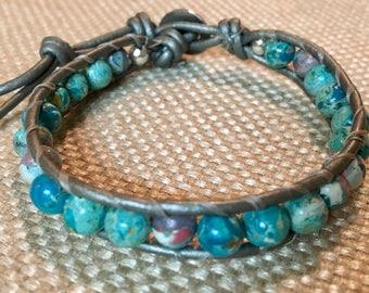 Memorial leather cord bracelet