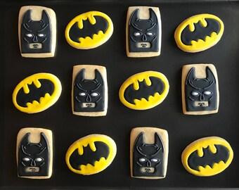 12 SUPERHERO BATMAN SPIDERMAN inspired vanilla sugar cookies - any superhero - spider web cookies wonder woman