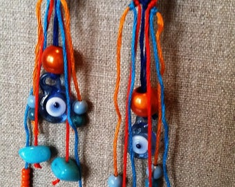Earrings unique fashion orange and blue friendship bracelet