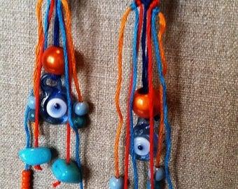 Earrings unique fashion orange and blue friendship bracelet