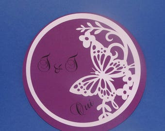 Circle frieze Butterfly wedding invitation