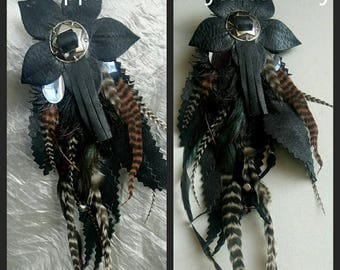 pendants leather feathers country style