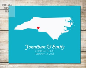 North Carolina Wedding Gift North Carolina Map Art Personalized Wedding Gift Custom Anniversary Gift