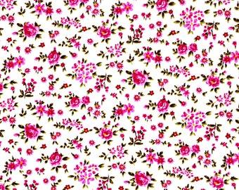 Tissu coton fleuri avec petites roses roses - tissu pour pqtchwork et loisirs créatifs -
