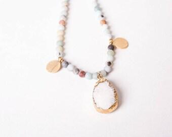 Amazonite Charm Necklace with Druzy Pendant