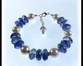Blueberry Quartz Bracelet, Blue jewelry, Purple jewelry, Chunky jewelry, Chunky bracelet, Handmade jewelry, gemstone jewelry,