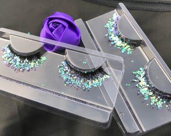 Lavendar holographic eyelashes, glitter eyelashes, purple eyelashes, mermaid makeup