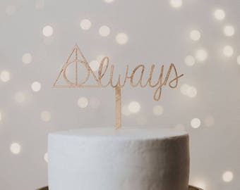 Harry Potter Cake Topper, harry potter wedding, harry potter wedding cake topper, deathly hallows cake topper, wedding cake topper, always