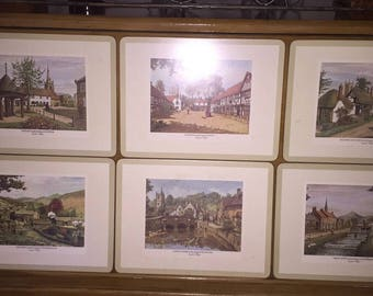 """Pimpernel 6 English Villages Placemats Cork Backed 12x9"""""""