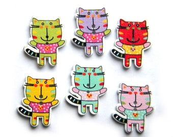 10 Assorted Cat Wooden Buttons
