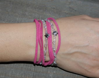 Pink suede bracelet with leaf charms