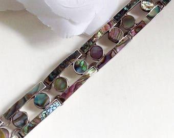 For Her Silver Bracelet, Sterling Silver Abalone Shell Bracelet, Vintage Mexican Silver Bracelet, Sterling Silver Bracelet, Vintage Jewelry