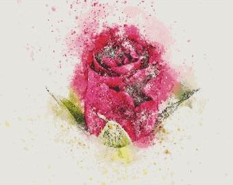 Pink Rose Cross Stitch Pattern