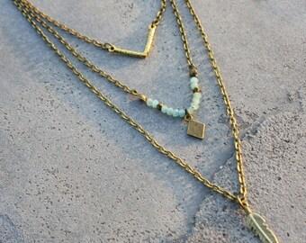 Chevron boho fashion necklace chain antique Bronze Gold 3 row diamond facet jewel creator unique turquoise glass Pearl feather charms